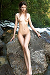 femjoy, alison, on-the-rocks, petite-body, small-breasts, brown-hair, hairy-pussy, outdoors, water